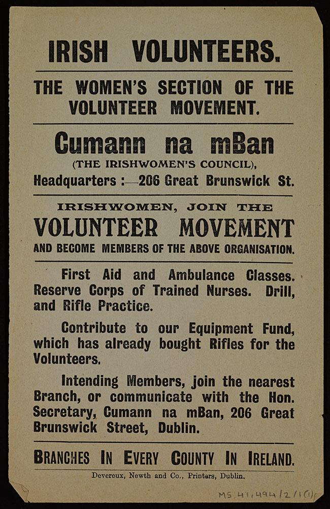 Cumann na mBan Volunteer Poster