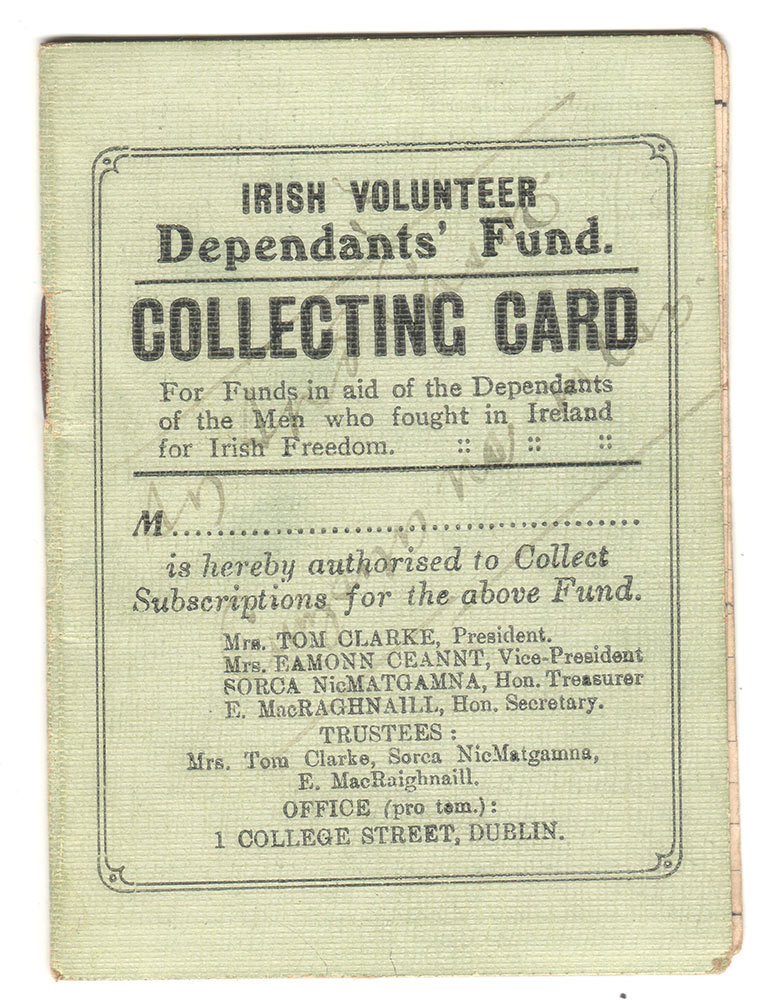 Irish Volunteer Dependants Fund Collecting Card