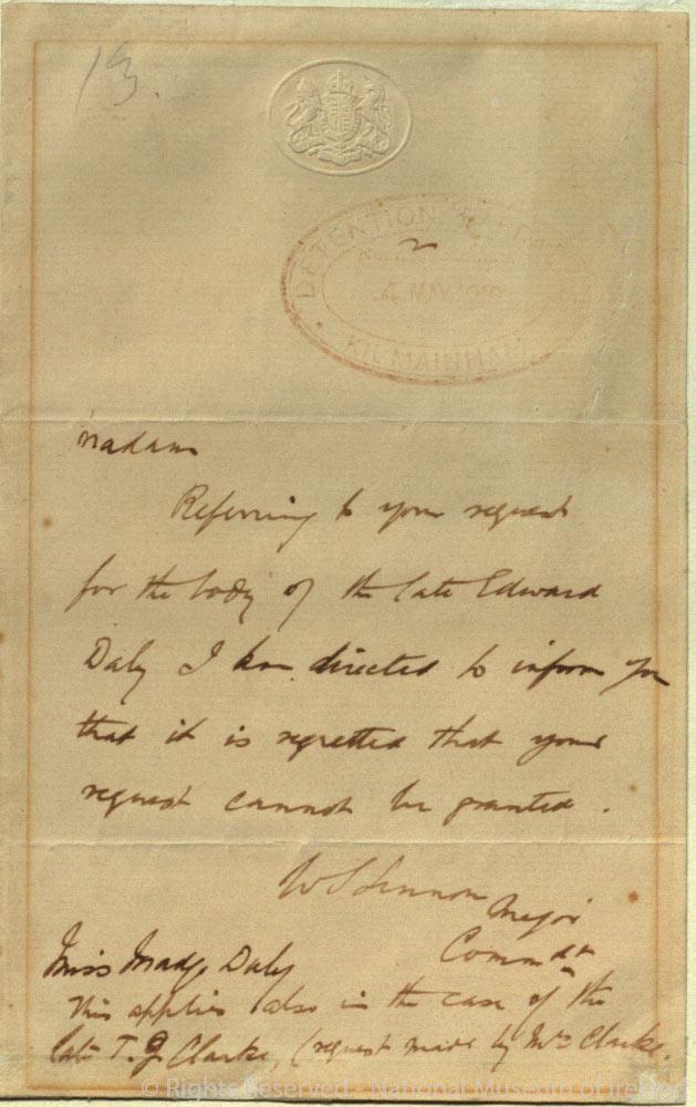 Letter written to Madge Daly from Major Lennon, Military Governor of Kilmainham Detention Barracks