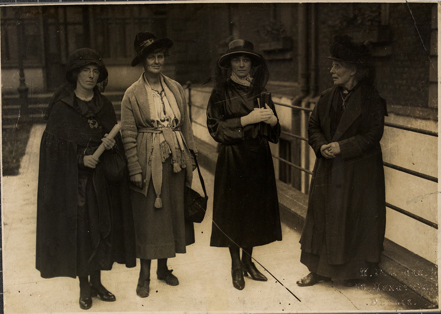 Kathleen Clarke, Constance de Markievicz, Kate O'Callaghan, and Margaret Pearse, outside Mansion house