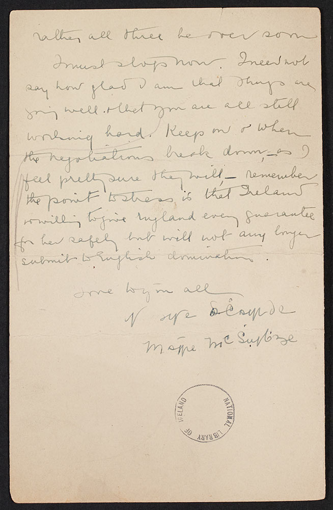 Mary McSwiney letter to John and Eileen Hearn, 6th October 1921