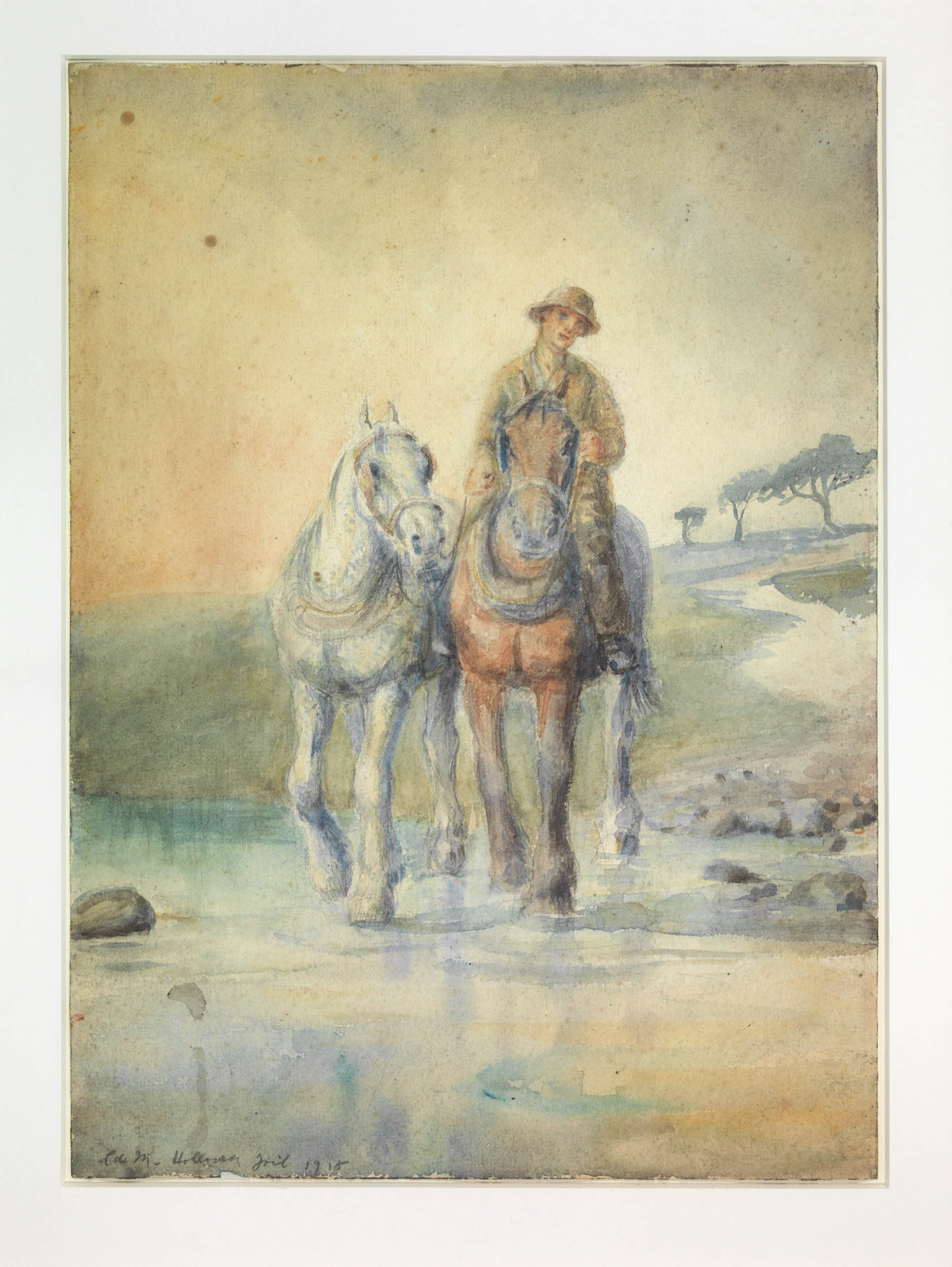 Man on Horse Leading Another.