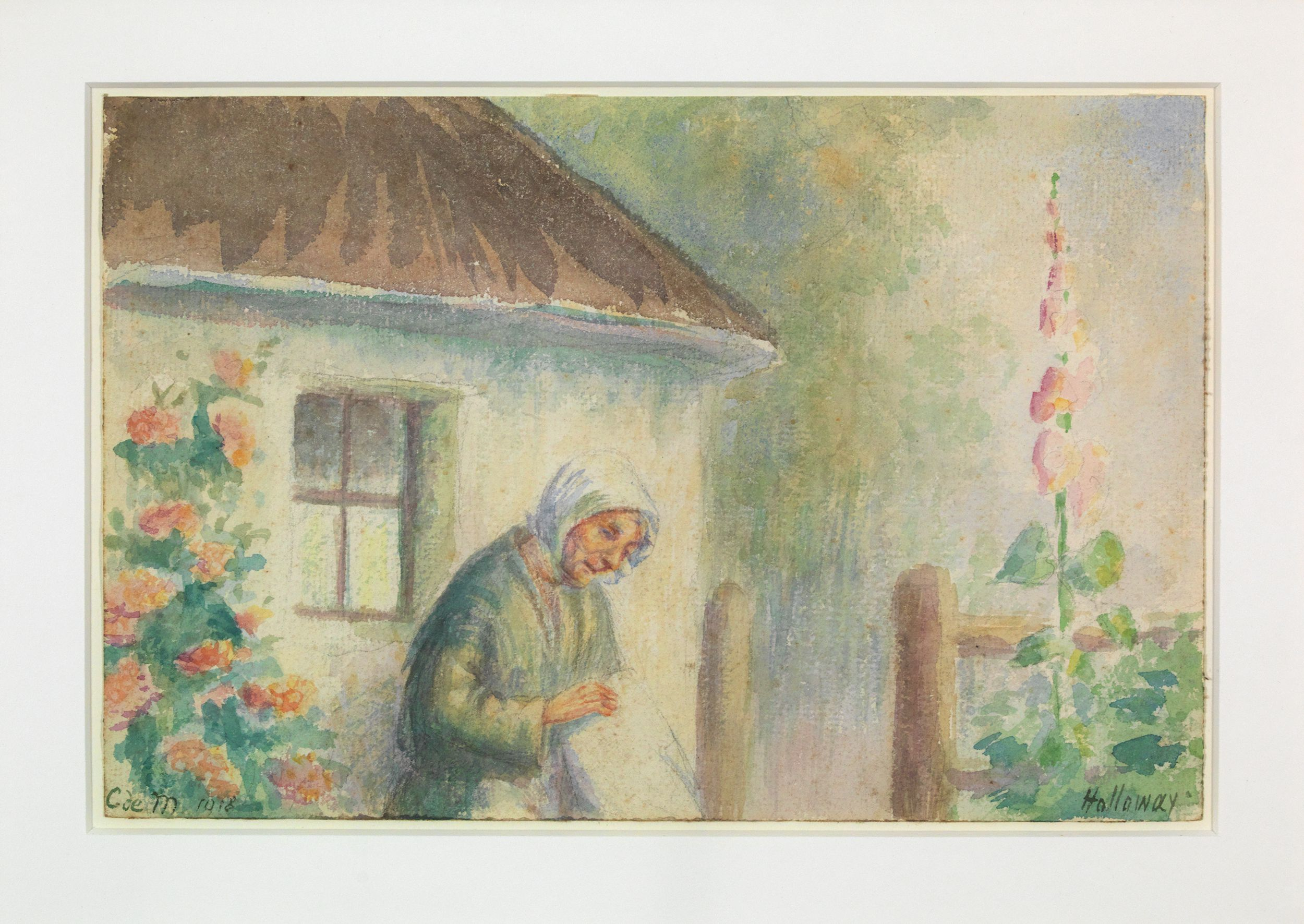 Old Woman at the Side of a Cottage.
