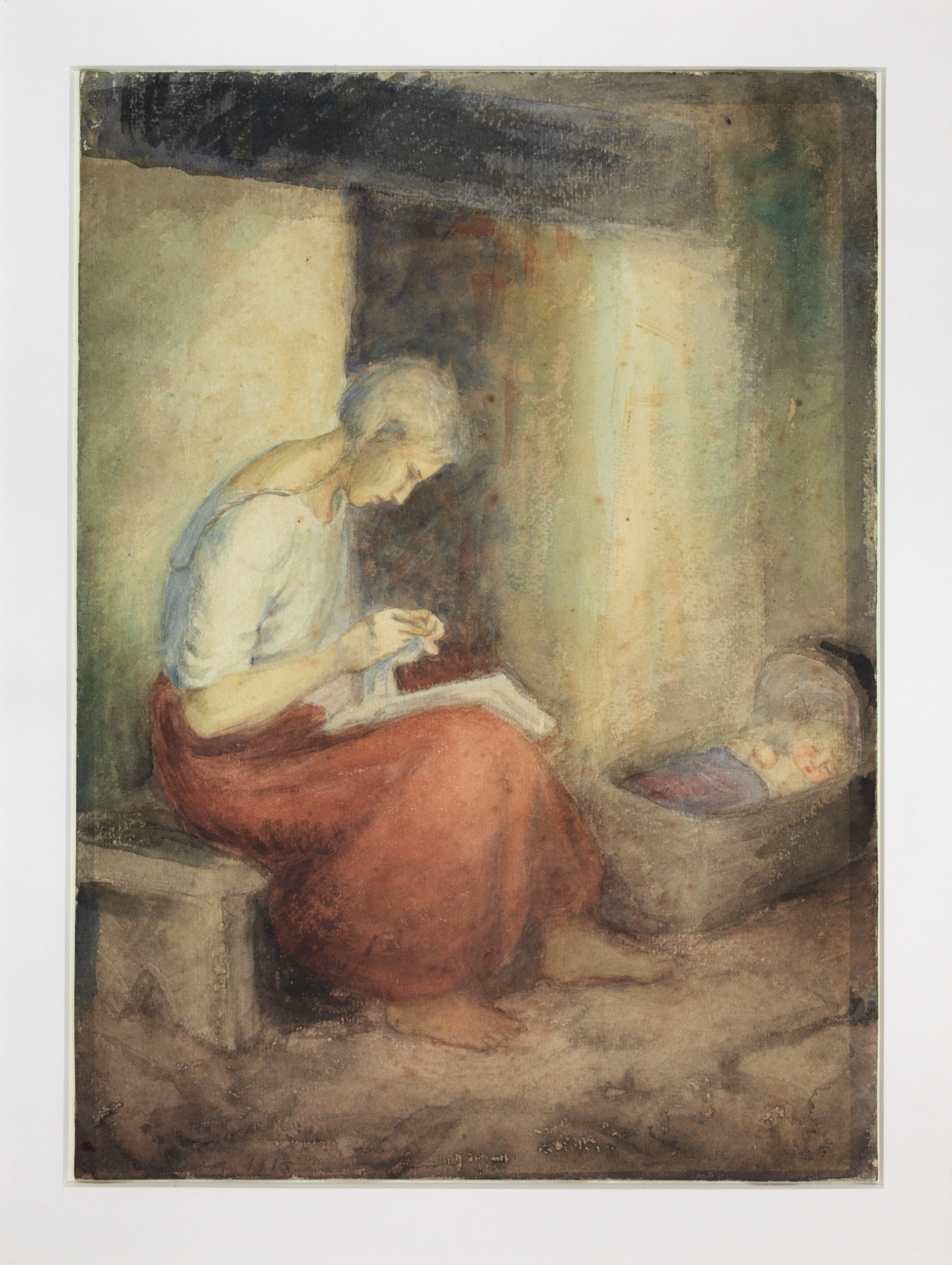 Peasant Woman Sewing, Child in Cradle Beside Hearth